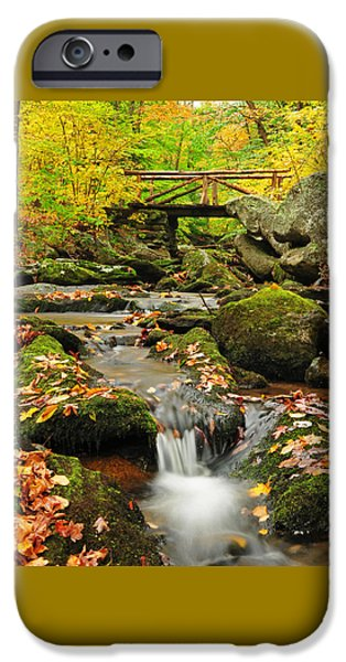 Fall Scenes iPhone Cases - Foot Bridge- Macedonia Brook State Park iPhone Case by Thomas Schoeller
