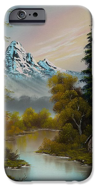 Best Sellers -  - Bob Ross Paintings iPhone Cases - Mountain Sanctuary iPhone Case by C Steele