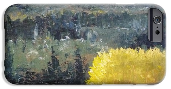 Business Paintings iPhone Cases - Foot of the Mountain iPhone Case by Nancy Merkle
