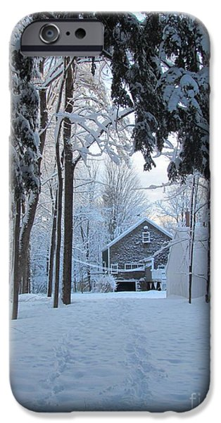 Winter In Maine iPhone Cases - Foot Prints in the Snow iPhone Case by Elizabeth Dow