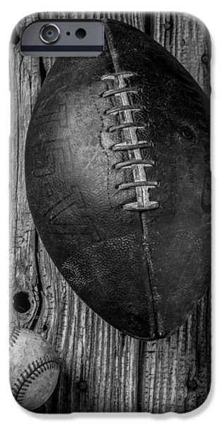 Board iPhone Cases - Football and Baseball iPhone Case by Garry Gay