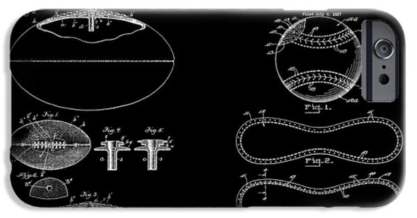 Mlb Drawings iPhone Cases - Football Baseball Patent Drawing iPhone Case by Dan Sproul
