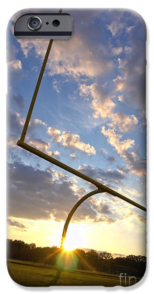 Football Goal at Sunset iPhone Case by Olivier Le Queinec