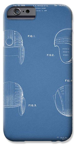 New York Jets iPhone Cases - Football Helmet 1935 - Blue iPhone Case by Mark Rogan