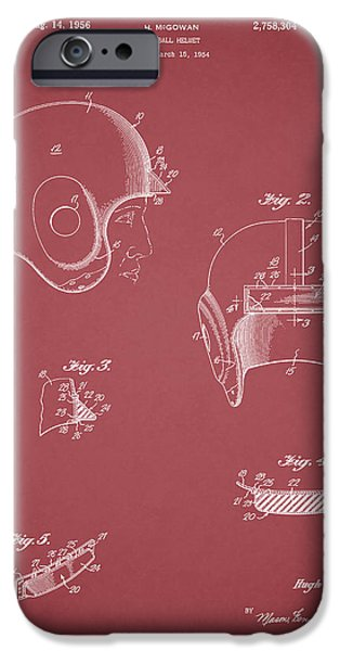 New York Jets iPhone Cases - Football Helmet 1954 - Red iPhone Case by Mark Rogan