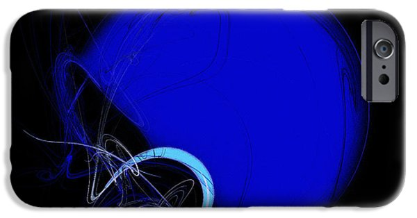 Gear Mixed Media iPhone Cases - Football Helmet Blue Fractal Art 2 iPhone Case by Andee Design
