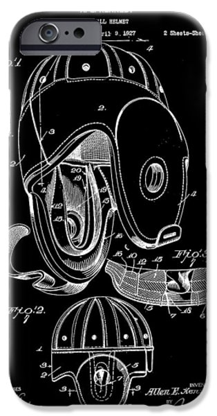 Pro Football iPhone Cases - Football Helmet Patent 1927 - Black iPhone Case by Stephen Younts