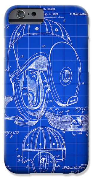 Pro Football iPhone Cases - Football Helmet Patent 1927 - Blue iPhone Case by Stephen Younts