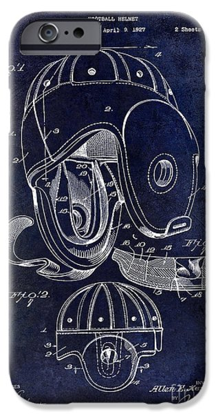 Minnesota iPhone Cases - Football Helmet Patent iPhone Case by Jon Neidert