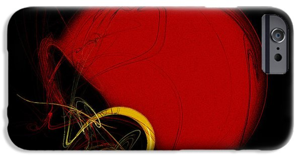 Gear Mixed Media iPhone Cases - Football Helmet Red Fractal Art 2 iPhone Case by Andee Design