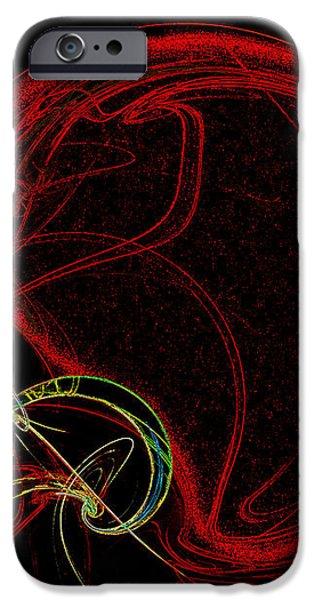 Football Helmet Red Fractal Art iPhone Case by Andee Design
