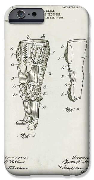 Uniform Drawings iPhone Cases - Football Pants Patent Drawing iPhone Case by Jon Neidert