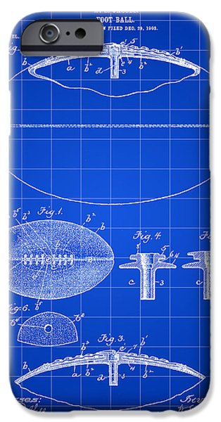 Pro Football iPhone Cases - Football Patent 1902 - Blue iPhone Case by Stephen Younts