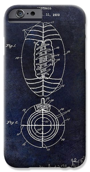 Minnesota iPhone Cases - 1925 Football Patent Drawing Blue iPhone Case by Jon Neidert