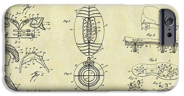 Minnesota iPhone Cases - Football Patent History Drawing iPhone Case by Jon Neidert