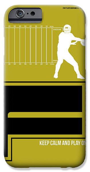 Football Mixed Media iPhone Cases - Football Poster iPhone Case by Naxart Studio