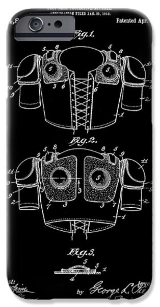 Pro Football iPhone Cases - Football Shoulder Pads Patent 1913 - Black iPhone Case by Stephen Younts