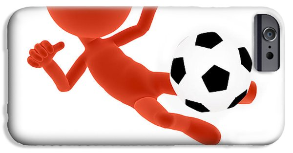 Volley iPhone Cases - Football soccer shooting jumping pose iPhone Case by Michal Bednarek