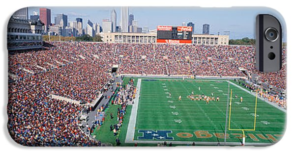 Soldier Field Photographs iPhone Cases - Football, Soldier Field, Chicago iPhone Case by Panoramic Images