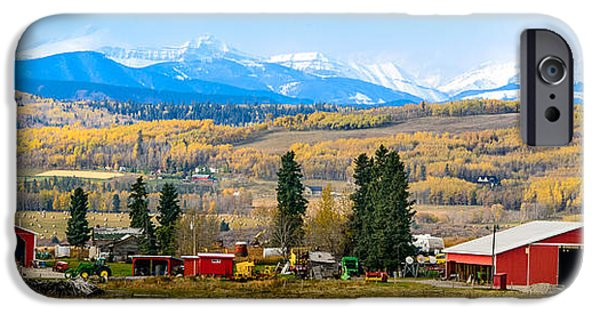 Machinery iPhone Cases - Foothills farming country with frame iPhone Case by Nicole Couture-Lord