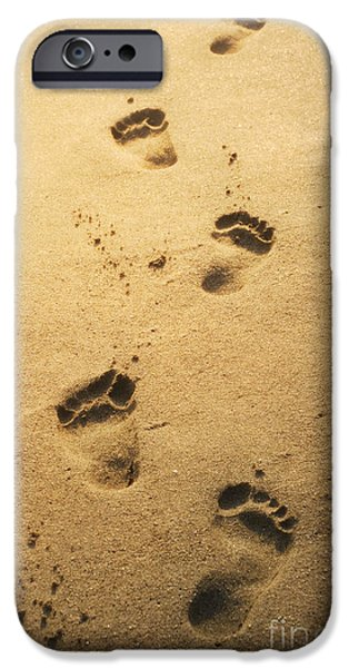 Ocean Pyrography iPhone Cases - Footprints in the sand iPhone Case by Jelena Jovanovic