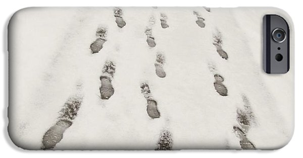 Winter Mornings iPhone Cases - Footprints in the Snow  iPhone Case by Marianna Mills
