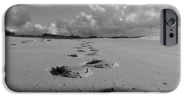 Ground Level iPhone Cases - Footprints on the Beach iPhone Case by Mountain Dreams
