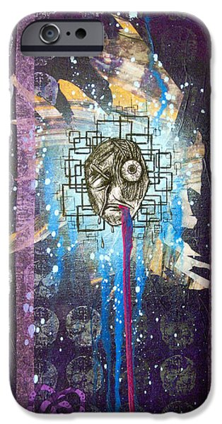Police Paintings iPhone Cases - For A Minute There I Lost Myself iPhone Case by Bobby Zeik