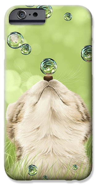Puppy Digital Art iPhone Cases - For kicks iPhone Case by Veronica Minozzi
