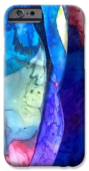 Abstracts Tapestries - Textiles iPhone Cases - Silk-13 iPhone Case by Julia Shapiro