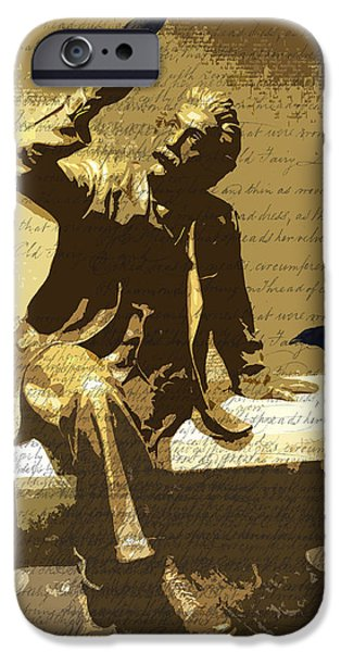 Statue Portrait iPhone Cases - For the Birds iPhone Case by Nancy Merkle