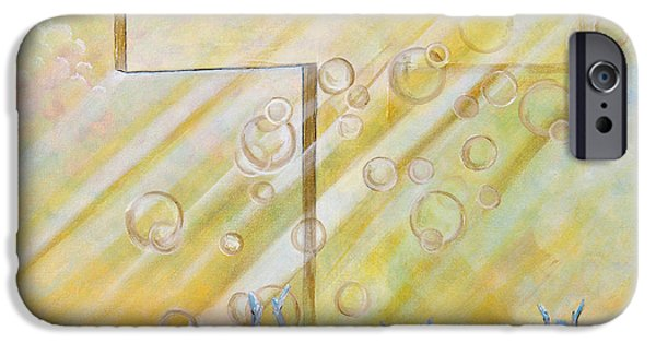 Sun Rays Paintings iPhone Cases - For The Cross iPhone Case by Cassie Sears