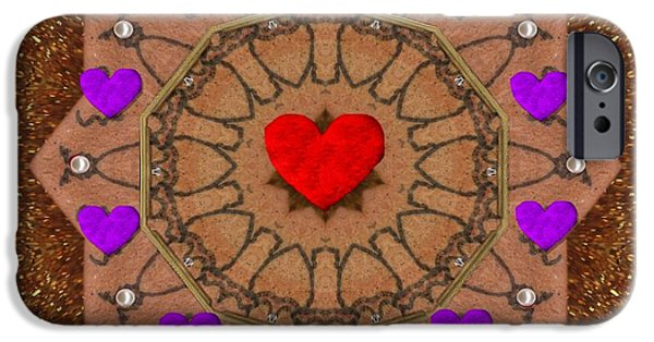 Contemplative Mixed Media iPhone Cases - For The Love of hearts iPhone Case by Pepita Selles