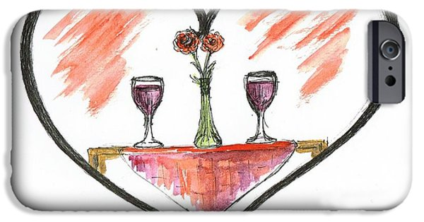 Table Wine Mixed Media iPhone Cases - For Two iPhone Case by Teresa White