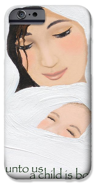 Miracle iPhone Cases - For Unto Us A Child Is Born iPhone Case by Kume Bryant