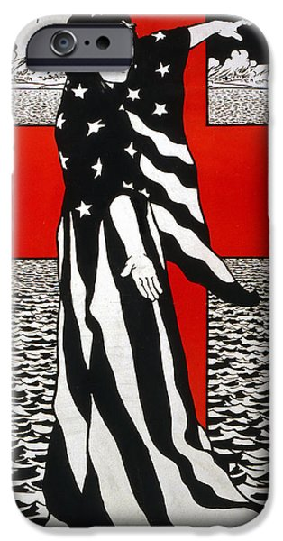Patriotic Drawings iPhone Cases - For you they are giving their lives over there iPhone Case by Charles William Bartlett