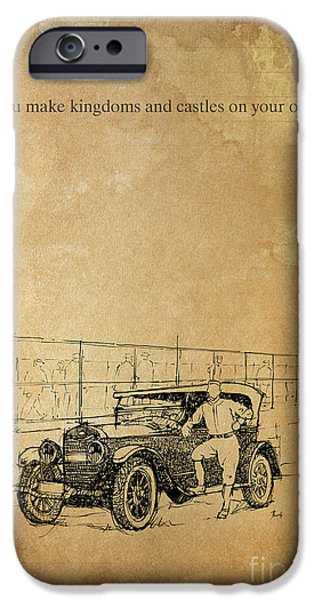 Ink On Paper iPhone Cases - Ford and the baseball star iPhone Case by Pablo Franchi