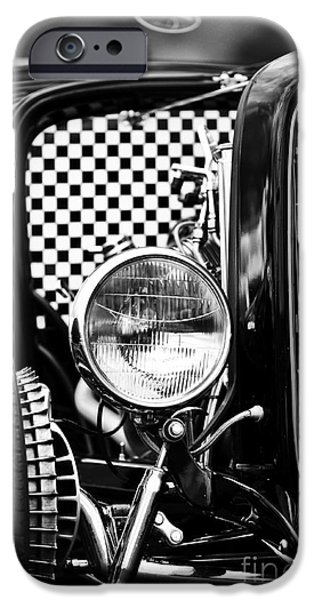 Drag iPhone Cases - Ford Dragster Monochrome iPhone Case by Tim Gainey