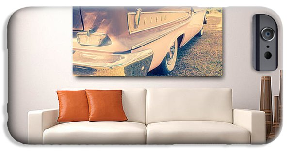 Couch iPhone Cases - Pink Ford Edsel On Wall iPhone Case by Edward Fielding