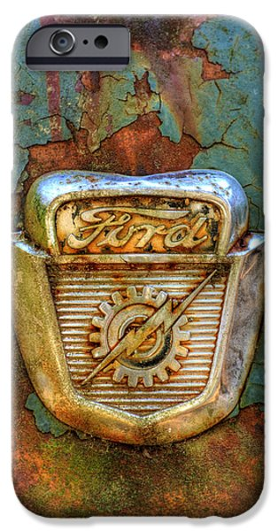 Junk Yard iPhone Cases - Ford Gear and Lightning iPhone Case by Greg Mimbs