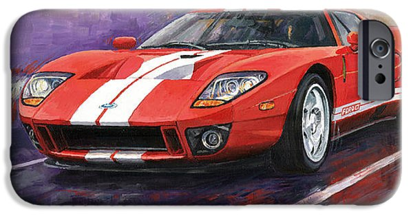 Cars iPhone Cases - Ford GT 2005 iPhone Case by Yuriy  Shevchuk