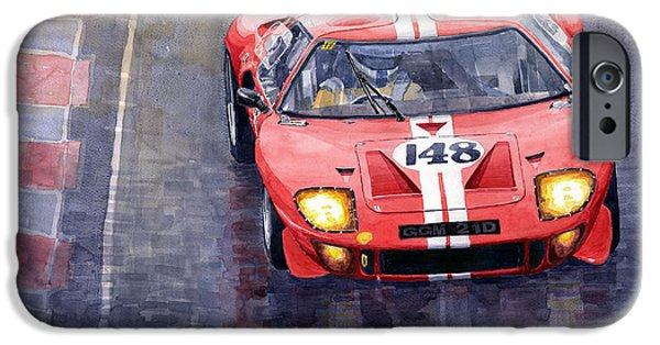 Classic Racing Car iPhone Cases - Ford GT 40 24 Le Mans  iPhone Case by Yuriy  Shevchuk