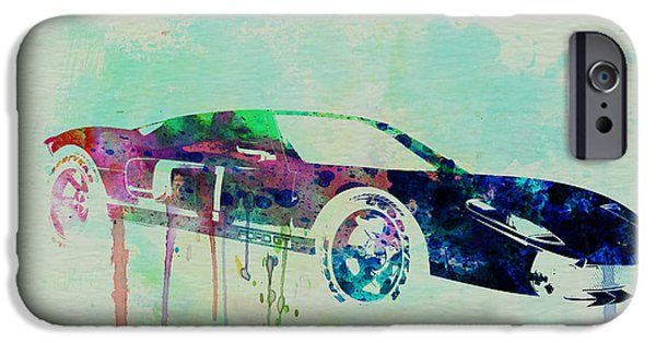Automotive Drawings iPhone Cases - Ford GT Watercolor 2 iPhone Case by Naxart Studio