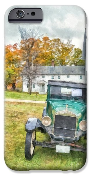 Frame House Photographs iPhone Cases - Ford Model A Sedan iPhone Case by Edward Fielding