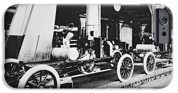 Conveyor Belt iPhone Cases - Ford Model T Motor Car During Manufacture iPhone Case by American Photographer