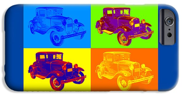 Model Digital Art iPhone Cases - Ford Model A Roadster Pop Art iPhone Case by Keith Webber Jr