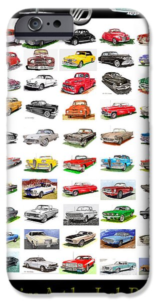 Classic Car Drawings iPhone Cases - Four decades of Fords Poster iPhone Case by Jack Pumphrey