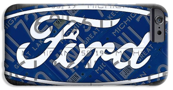 Highway iPhone Cases - Ford Motor Company Retro Logo License Plate Art iPhone Case by Design Turnpike