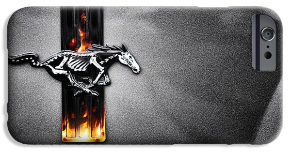 Mustang Horse iPhone Cases - Ford Mustang Horse iPhone Case by Tim Gainey