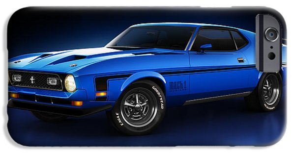 Old Cars iPhone Cases - Ford Mustang Mach 1 - Slipstream iPhone Case by Marc Orphanos